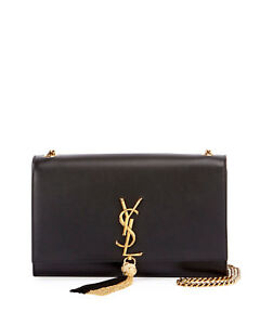 46ba25dd1a7 AUTH NEW WOMEN YVES SAINT LAURENT MONOGRAM KATE TASSEL CHAIN LARGE ...