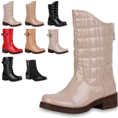 Klassische Damen Stiefeletten Schuhe Stiefel Gesteppte Lack Boots 77112 Top
