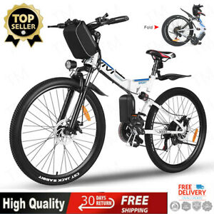 26'' Electric Bike Mountain Bicycle City Folding Ebike 21^Speed 350W Battery USA