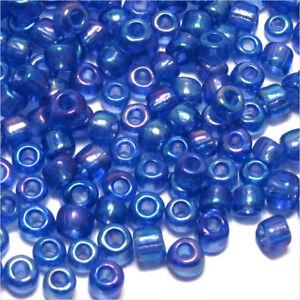 Perles-de-Rocailles-en-verre-Transparent-4mm-Bleu-AB-20g-6-0