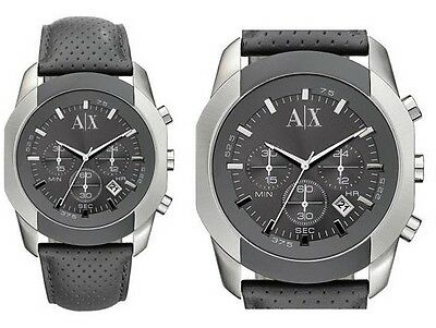e4b543ff45e ARMANI EXCHANGE GRAY PERFORATED LEATHER+SILVER