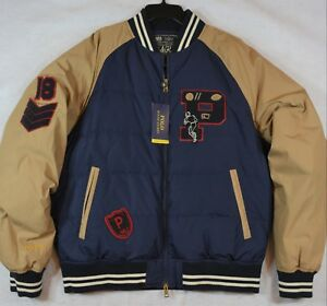 3f35d16834 Details about Polo Ralph Lauren Down Bomber Letterman Varsity Jacket  P-Patch Football L NWT