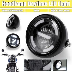 Universal-7-034-Moto-Motocicleta-Negro-Mate-FARO-LED-Frontal-Luz-Faro