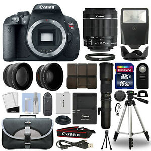 Canon-T5i-700D-DSLR-Camera-4-Lens-18-55mm-IS-STM-500mm-16GB-Telephoto-Kit