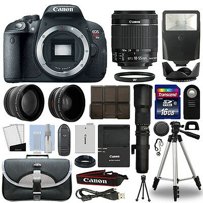 Canon T5i / 700D DSLR Camera+ 4 Lens 18-55mm IS STM + 500mm + 16GB Telephoto Kit