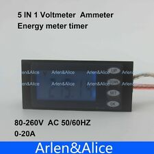LCD 5IN1 Voltage current active power energy time meter blue backlight 20A