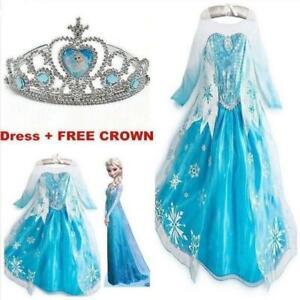 New-ANNA-Elsa-Girls-Princess-Dress-Queen-Cosplay-Costume-Grils-Fancy-Dress-amp-Crown