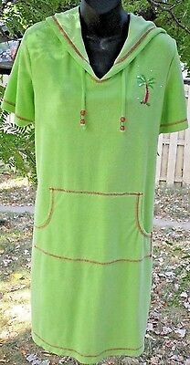 Quacker Factory Green French Terry Embroidered Beach Dress / Cover Up Size M