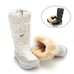 Winter-Women-039-s-Mid-Calf-Boots-Top-Pull-On-Waterproof-Plush-Snow-Shoes-Sneakers