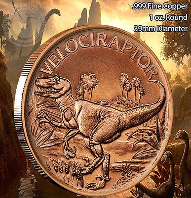 """/""""Velociraptor/"""" Dinosaur Round 1 oz .999 Copper Round part of Dinosaur series"""