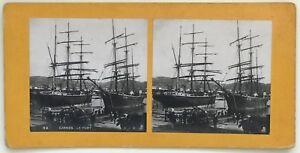Cannes Il Port Bateaux Vela Foto P39L8n5 Stereo Stereoview Vintage