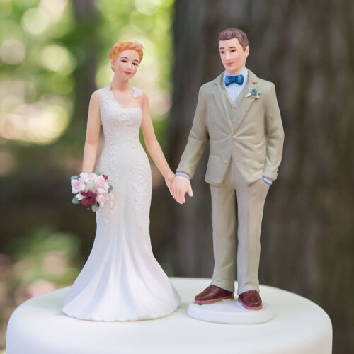 Woodland Casual Wedding Couple Cake Topper Custom Hair Reception Gift Charming
