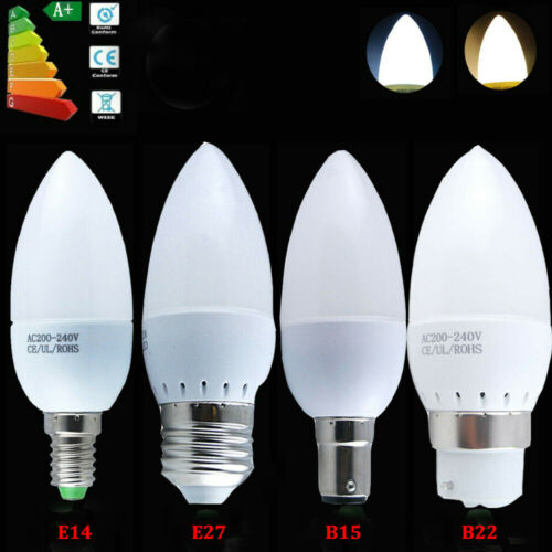 10x E14 E27 B22 B15 LED Candle Light Bulbs  3W 5W Energy Saver Warm Cool White