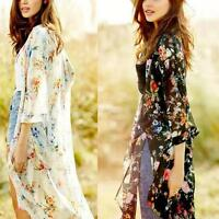 Women Fashion Vintage Boho Floral Print Long Cardigan Kimono Blouse Chiffon Tops