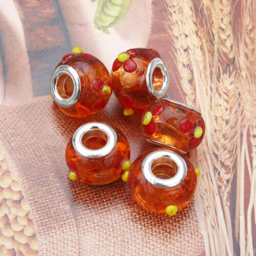 20pcs Orange Silver MURANO GLASS BEAD LAMPWORK fit European Charm Bracelet
