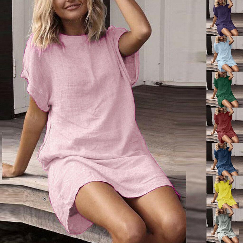 Women Summer Linen Dress Casual Solid Short Sleeve Dress Crew Neck Mini Dresses