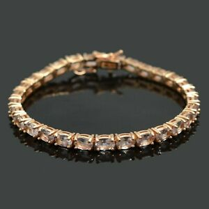 6x4mm-Natural-Morganite-14k-Rose-Gold-Plate-Sterling-925-Silver-Tennis-Bracelet