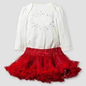 c7e93b15671d Baby Girls Cat & Jack 2pc Glitter Sparkle & Shine Bodysuit & Red ...
