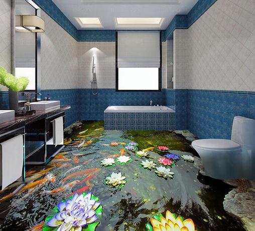 3D Karpfen Pool 4 Fototapeten Wandbild Fototapete Tapete Familie DE Lemon
