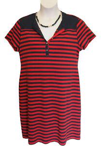 Chaps Striped Cotton Knit Shift Dress Size XXL 20 Capri Navy/Yacht Red Casual