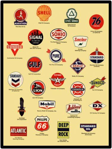 Sinclair Assorted Gas Logos Circa 1945 New Metal Sign Sohio ++++ Marathon