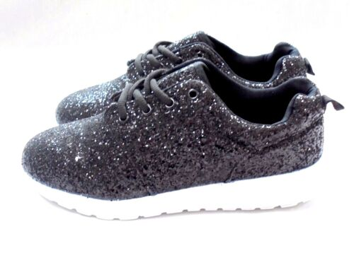 LADIES WOMENS NEW ELLA GLITTER TRAINERS SPARKLY LACE UP PUMPS SHOES SIZE 3-8