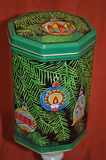 Old Tin Can Container Octagon Green Christmas Bulbs Tree Hinged Lid Gift Box