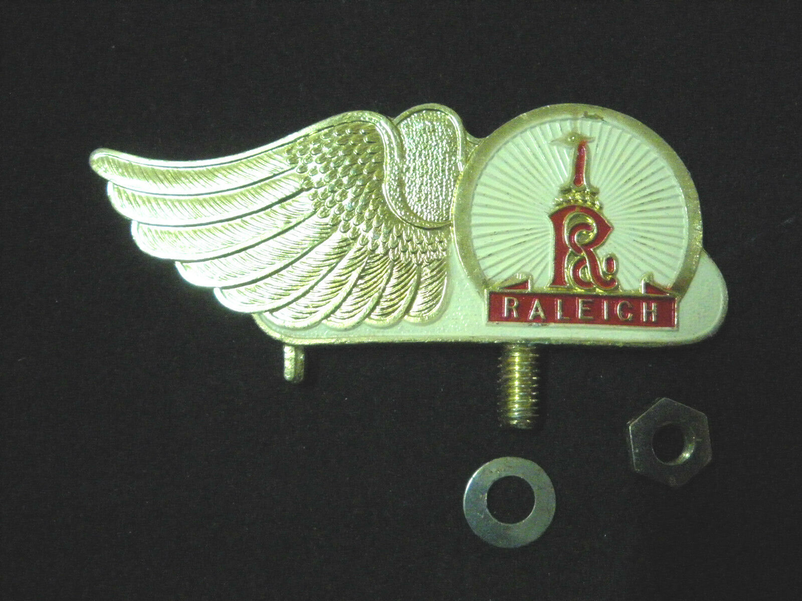 Vintage RALEIGH  Bicycle  front mudguard Emblem Badge Bike gold WHITE NOS 1950s  hottest new styles