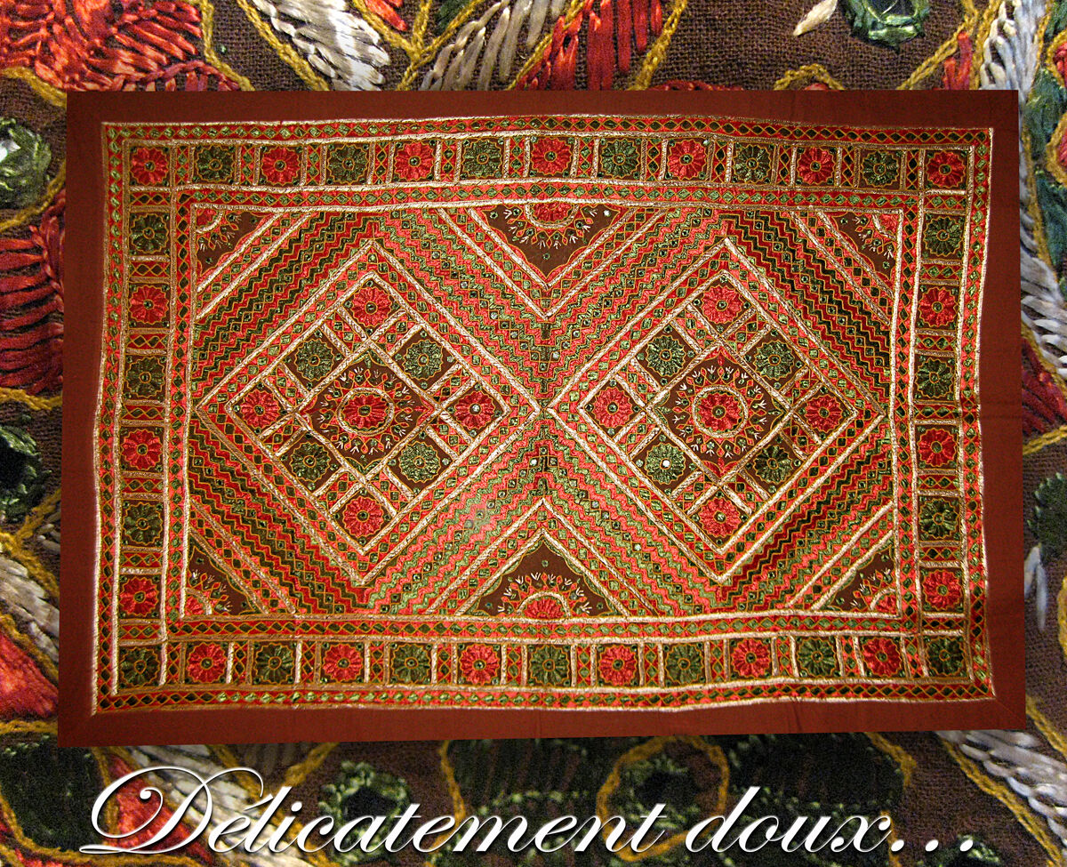 Superbe Patchwork indien en coton dominante marron grande taille - PA-G-5
