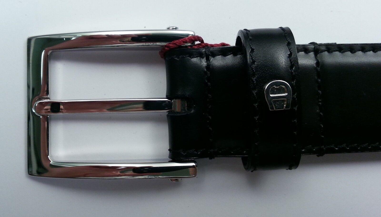 Aigner Gürtel Kalb Leder - Schliesse Silberfarben glänzend , Breite 3cm