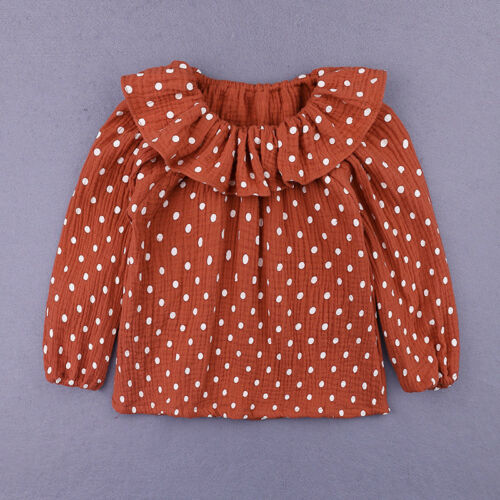 Toddler Baby Kids Girl Doll collar Shirt Top Clothes Dot Cotton T-Shirts 1-5Y