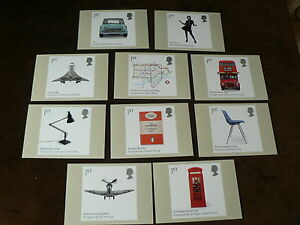 British Design Classics, 2009, 10 x PHQ Stamp Cards, FDI Special H/S Back