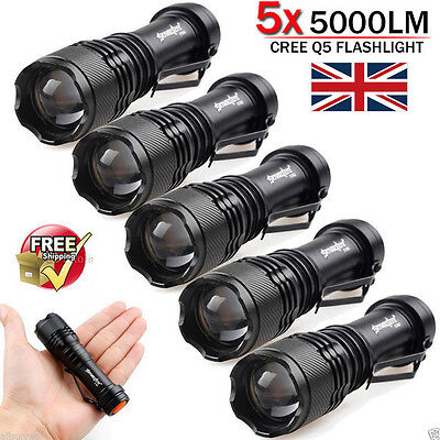 10pcs Lot 5000LM CREE Q5 LED AA//14500 ZOOMABLE Tactical Flashlight Torch Lamp UK