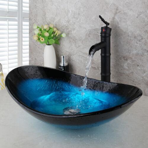 US Bathroom Vanity Glass Vessel Sink With Black Oil  Waterfall Mixer Faucet Set