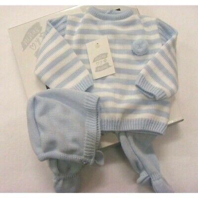 Baby Boys Girls Spanish Romany Sky Blue Bunny /& Pom Pom Knitted Jumper Outfit