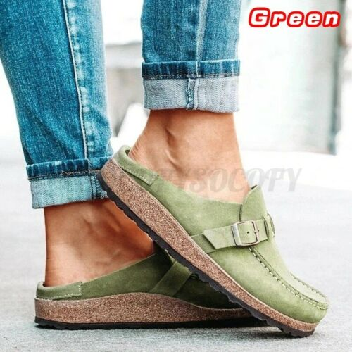 Details about  /Nis Womens Suede Backless Slippers Slip On Sandals Beach Casual Shoes 6   L
