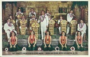 Hotel-Lexington-Hawaiian-Room-Ray-Kinney-Orchestra-Aloha-Maids-NYC-Postcard