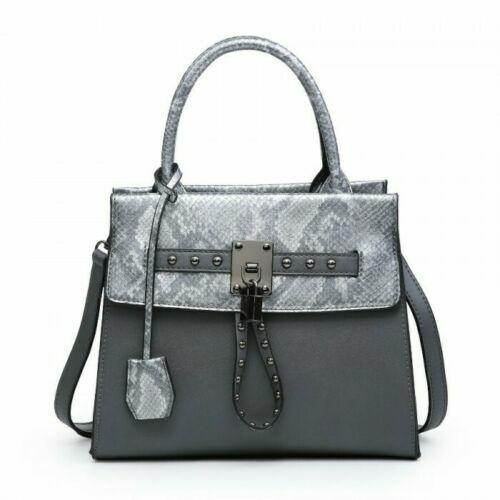 Women Faux Leather Tote Handbag Shoulder Bag Snake Skin Multi Panel Studded