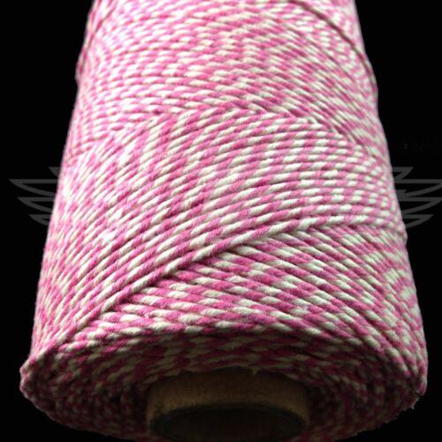 Rose Rosa Y Blanco Hermoso Bakers Twine 2mm 2 capas-String Cord Everlasto