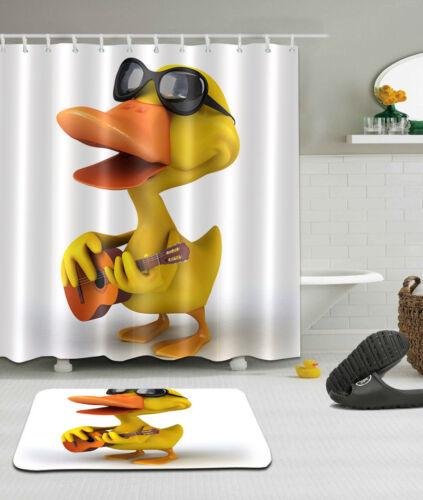 """72x72/"""" Cute Singer Duck Polyester Fabric SHOWER CURTAIN Bathroom MAT 12HOOK 2017"""