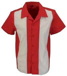 Retro-Deep-Red-Cream-Rockabilly-Bowling-Shirts