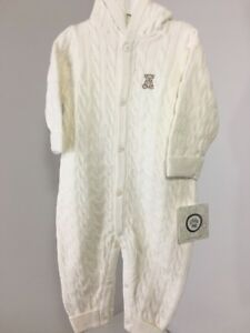 93869f08d5d9 LITTLE ME INFANT BOYS CABLE KNIT ONE PIECE COVERALL IVORY 9M NWT  45 ...