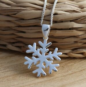 Details About 925 Sterling Silver Snowflake Pendant Charm Necklace Gift Box