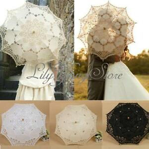 Vintage-Handmade-Cotton-Parasol-Lace-Umbrella-Party-Wedding-Bridal-Decoration