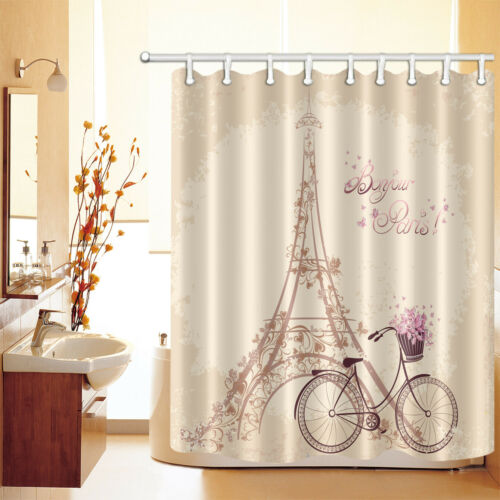 Waterproof Fabric Romantic Paris Eiffel Tower Shower Curtain Set Bathroom Hooks