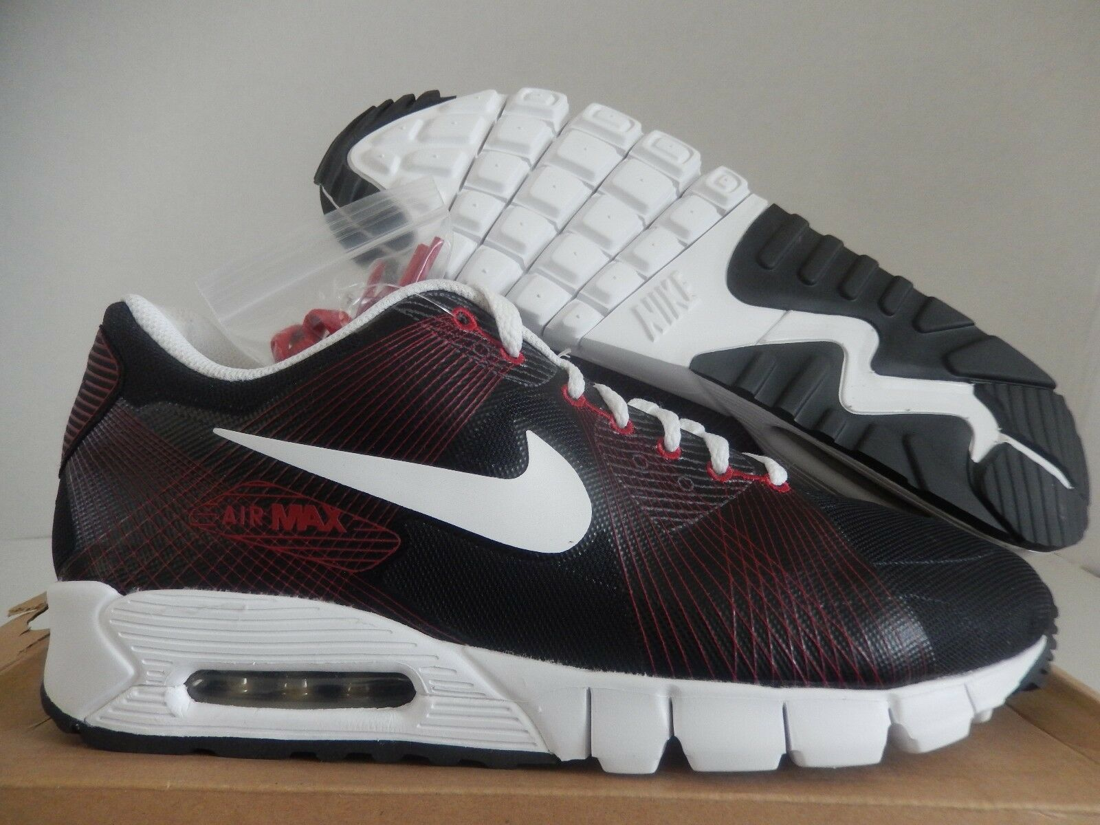 NIKE AIR MAX 90 FLYWIRE BLACK-WHITE-VARSITY RED SZ 13 RARE! [347651-012]