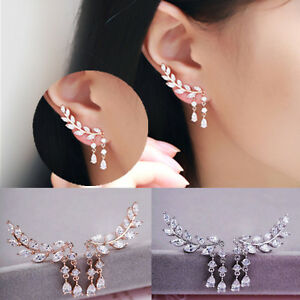 Women-Fashion-Gold-Silver-Crystal-Zircon-Leaves-Tassel-Ear-Stud-Earrings-Jewelry