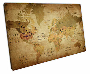 Retro Vintage World Map Canvas Wall Art Picture Large 75 X 50 Cm Ebay