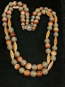 Vintage-Estate-Natural-Wood-Tone-Large-Bead-Multi-Strand-Statement-Necklace