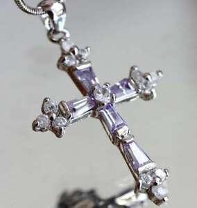Pretty-Created-Amethyst-amp-Diamond-Cross-Pendant-Nacklace